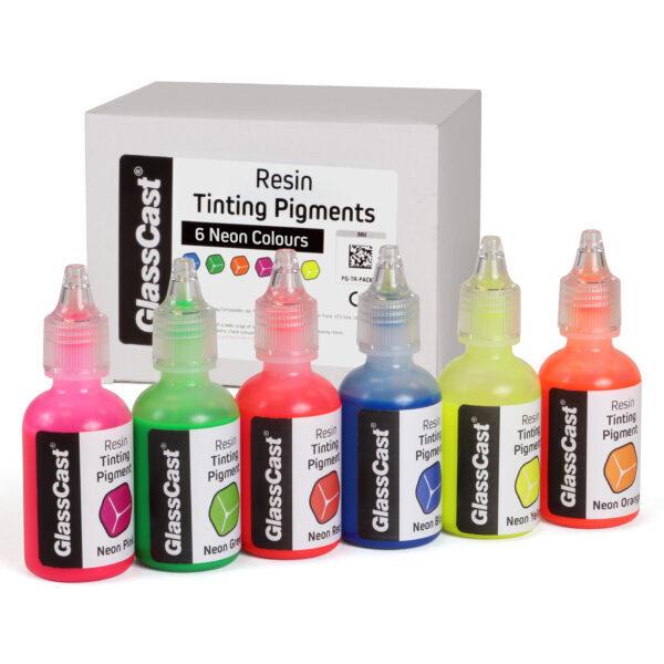 Transparanta epoxy färger 6 st Neon